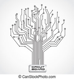 circuit board shaped tree, vector illustration