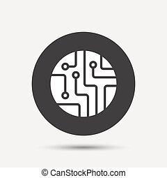 Circuit board sign icon. Technology symbol.