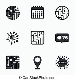 Circuit board signs. Technology scheme icons. - Calendar,...