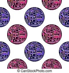 Circuit Board Sphere Seamless Pattern. Flat Design. Modern Computer Technology Texture. High Tech Printed Symbol.
