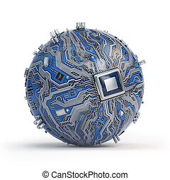 Circuit board system chip with core processor. Spherical computer motherboard with CPU isolated on white background. Futuristic computer technology.