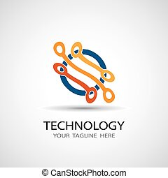 Circuit board, technology icon, abstract vector illustration