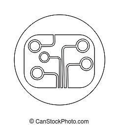Circuit board technology icon illustration design