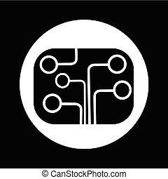 Circuit board technology icon illustration design
