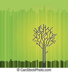 Layered vector illustration of a circuit board tree on a green background