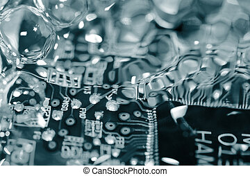Circuit board under water abstract background