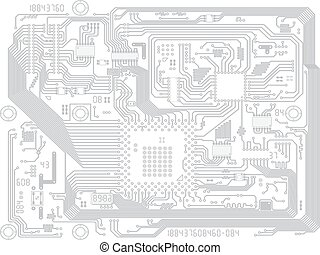 Circuit board vector computer drawing - electronic motherboard with chips. Industry technical background