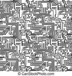 Circuit board vector computer seamless technological background - electronic black and white pattern