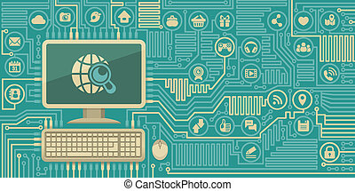 Circuit Board with a Computer - Conceptual illustration of...