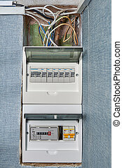Circuit breaker board of home electrical system.