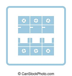 Circuit breaker icon. Blue frame design. Vector...