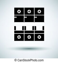 Circuit breaker icon on gray background, round shadow....