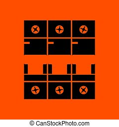 Circuit breaker icon. Orange background with black. Vector...