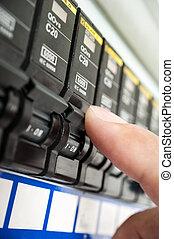 circuit breaker - closeup detail of automatic circuit...