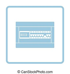 Circuit breakers box icon. Blue frame design. Vector...