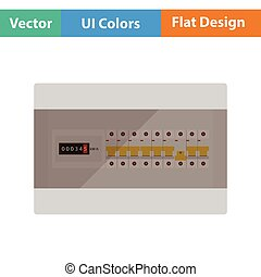 Circuit breakers box icon. Flat design. Vector illustration.