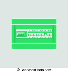 Circuit breakers box icon. Gray background with green....