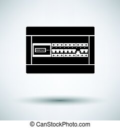 Circuit breakers box icon on gray background, round shadow....