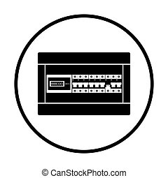 Circuit breakers box icon. Thin circle design. Vector...