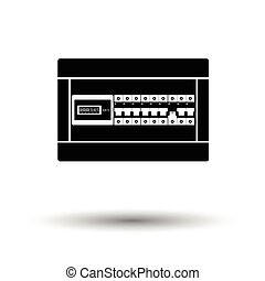 Circuit breakers box icon. White background with shadow...