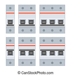 Circuit Breakers Set on White Background. Vector...