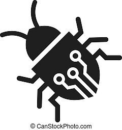 Circuit bug vector icon isolated on white background