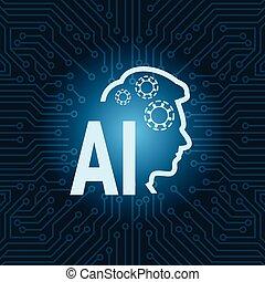 circuit, carte mère, sur, humain, intelligence, fond, artificiel, icône, tête, bleu