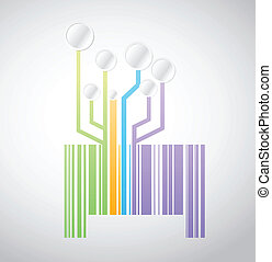 circuit color barcode or upc illustration design