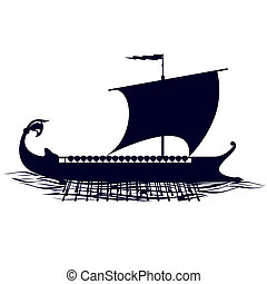 Circuit galleys - Old sailing ship. Illustration on white...