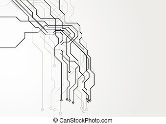 circuit, high-tech, planche, fond, gris