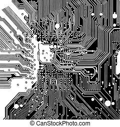 circuit ordinateur, planche, (vector)