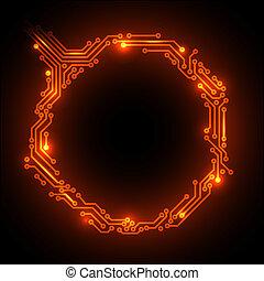 circuit, résumé, chaud, vecteur, planche, fond