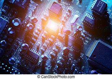 circuit, résumé, planche, fond, texture.