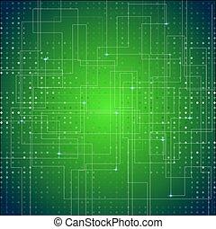 circuit, résumé, texture, vecteur, vert, planche, fond