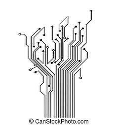 circuit, schaduw, boompje, abstract