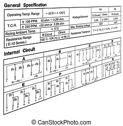 circuit specification concept on white - resistance (ohm) ...