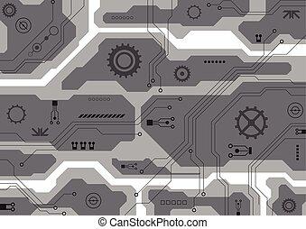circuit, technology., illustratie, vector, plank, achtergrond