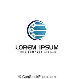 circuit technology logo design concept template