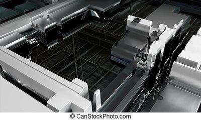 Circuit with glass closeup, conveyor line, 3d rendering...