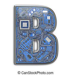 circuito, alfabeto, b., isolato, ciao-tecnologia, white., lettera, digitale, style., asse