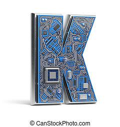 circuito, alfabeto, k., isolato, ciao-tecnologia, white., lettera, digitale, style., asse