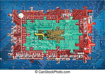 circuito, astratto, multicolor, asse, fondo, puzzle