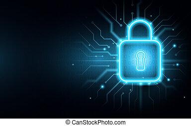 circuito, candado, plano de fondo, cyber, tabla, seguridad