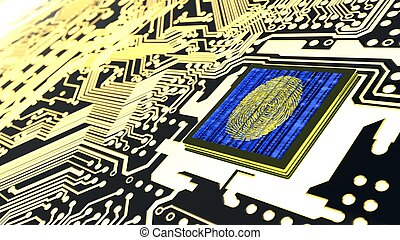 circuito, cybersecurity, huella digital, tabla, concepto, ...