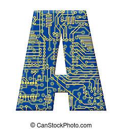 circuito, electrónico, alfabeto, -, uno, tabla, plano de ...