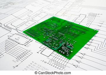 circuito, impreso, esquemático, tabla