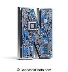 circuito, n., alfabeto, isolato, ciao-tecnologia, white., lettera, digitale, style., asse