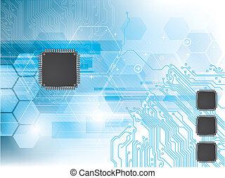 circuito, processador dados, fundo, integrada