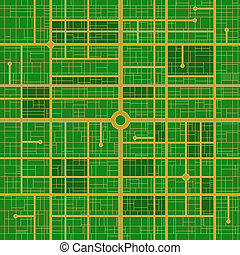 Circuitry - Road map of technology - vector seamless tile...