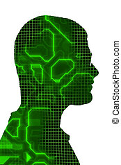 Circuitry Silhouette - Male profile silhouette overlayed...